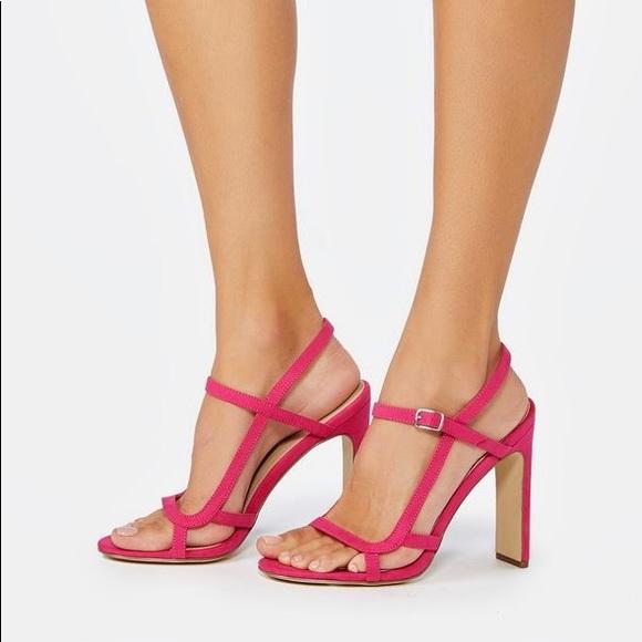 0d00b01334e NEW JustFab Fuchsia Pink Strappy Summer Sandals
